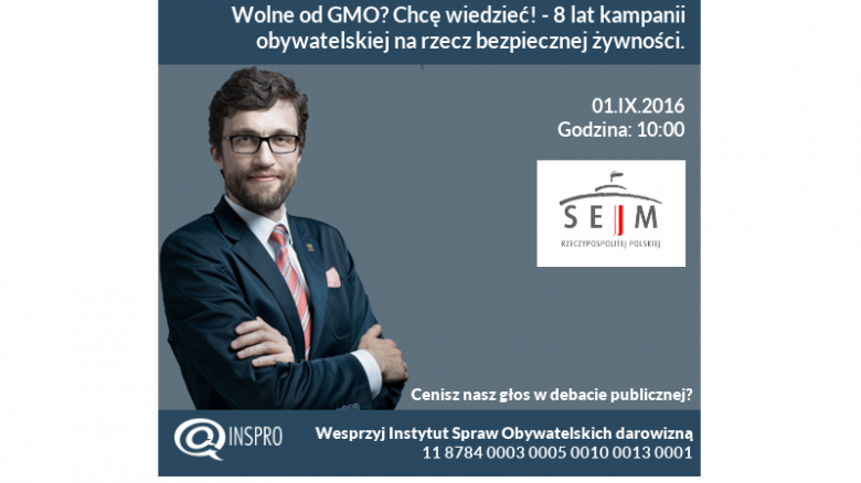 Rafał Górski w Sejmie - konferencja GMO