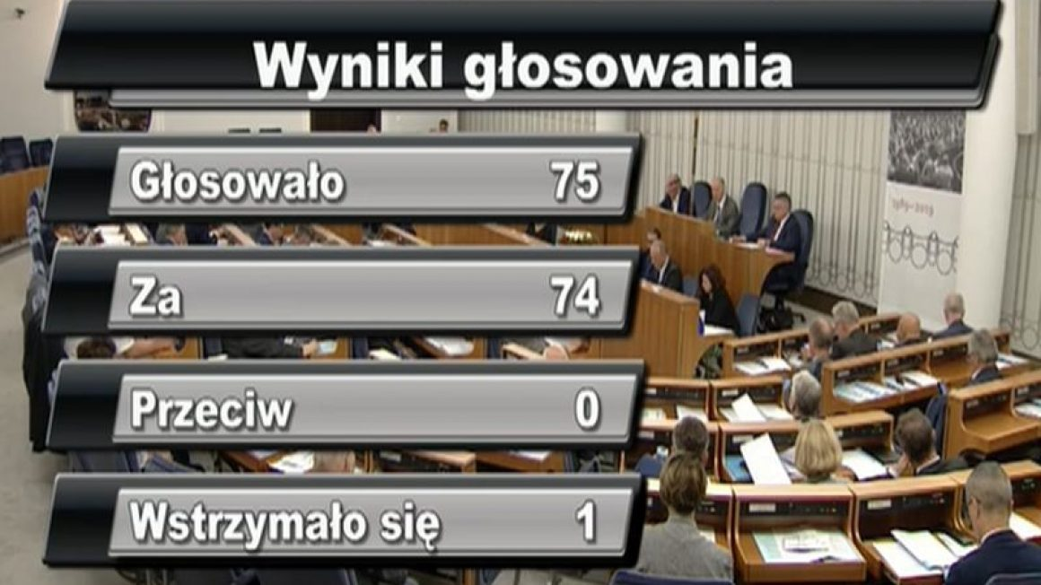 głosowanie w Senacie - znak wolne od gmo