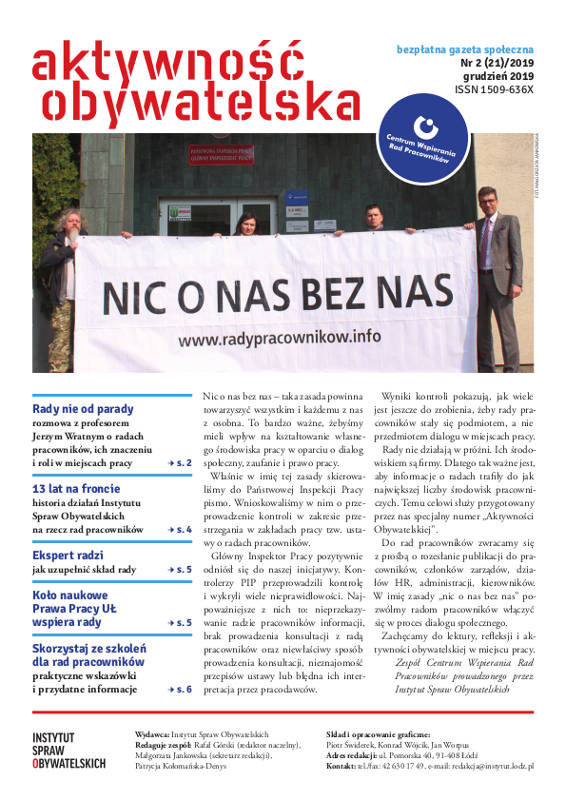 Aktywność Obywatelska nr2(21)/2019 – okładka