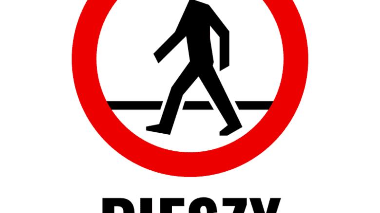 """Drogowy znak zakazu z postacią pieszego. Podpis: """"Pieszy – gatunek wymierający?"""""""