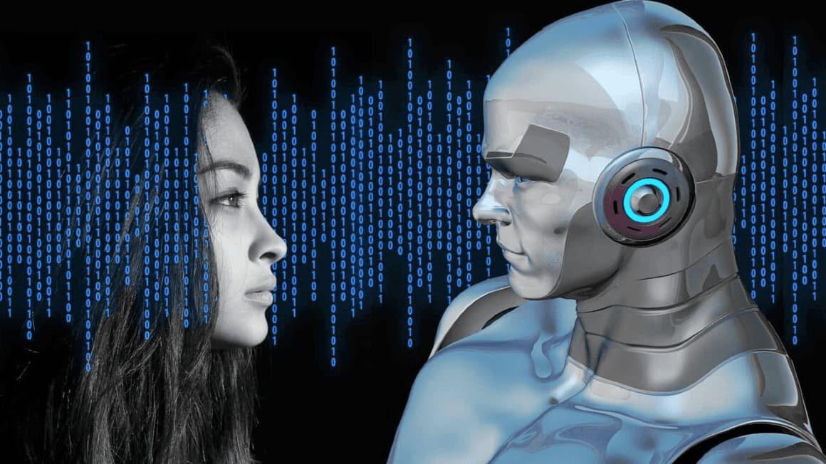 człowiek i robot kod binarny
