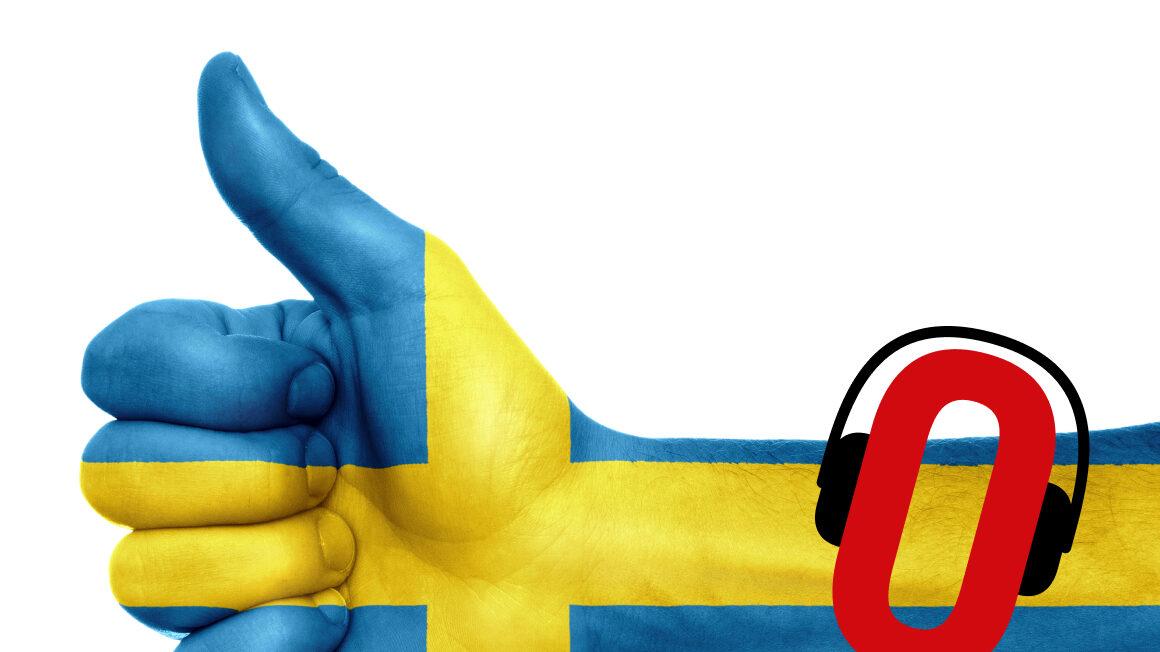 Ręka z uniesionym kciukiem w góra z nałożoną flagą Szweji