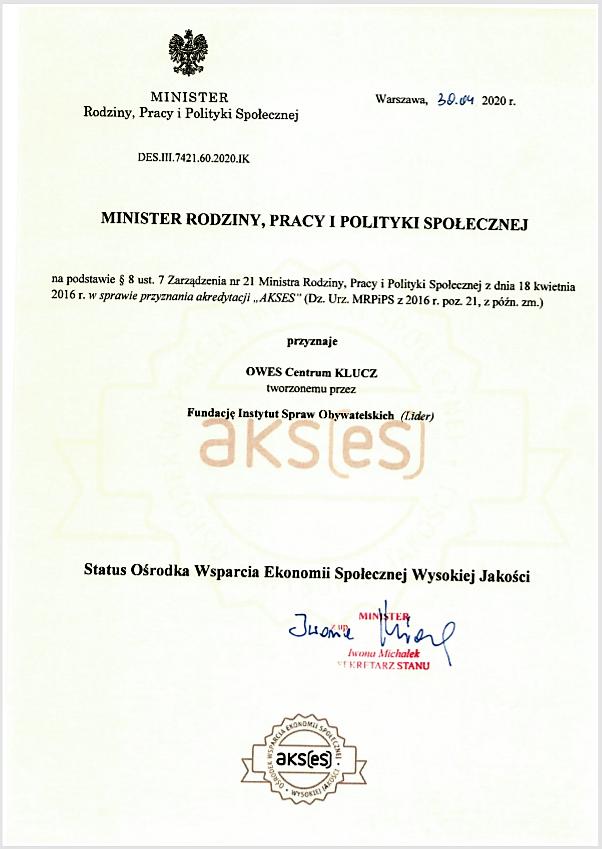 pismo_certyfikat AKSES