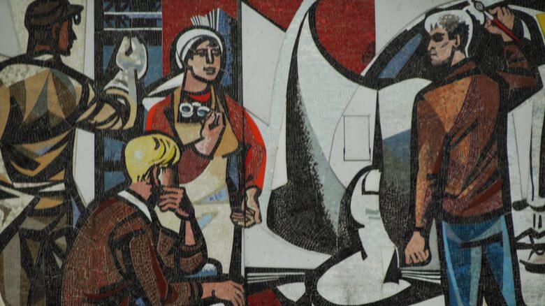 German workers in graffiti